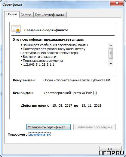Сертификат «Орган исполнительной власти субъекта РФ»